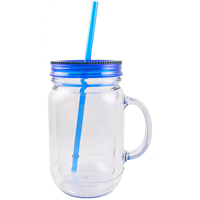 20oz.  Double Wall Mason Style Jar with Handle