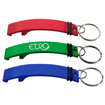 Curved Aluminum Multi-Purpose Bottle Opener Keyring