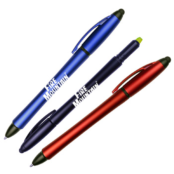 Matte Color Barrel Ballpoint Pen w/ Highlighter and Stylus