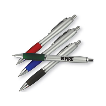 Silver Barrel Ballpoint Pen w/Colored Rubber Grip