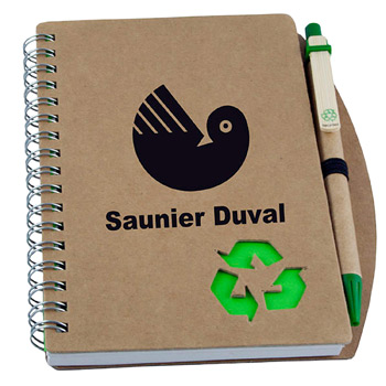 Eco-Friendly Recycled Cardboard Notebook w/Pen