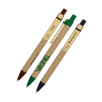 Eco-Friendly Recycled Cardboard Clicker Pen w/ Bamboo Clip