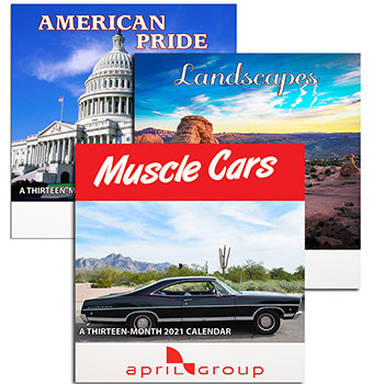 Patriotic, Landscape and Muscle Car 13 Month Wall Calendar